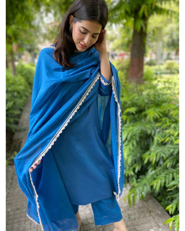 Cobalt blue mukaish work kurta and pants with dupatta- Set Of Three 1