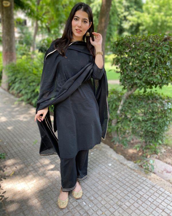 Black cotton kurta and pants with mukaish work dupatta- Set Of Three 3