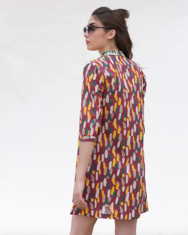 ROSEWOOD PLEAT INSERT TUNIC WITH JAQCUARD COLLAR 1