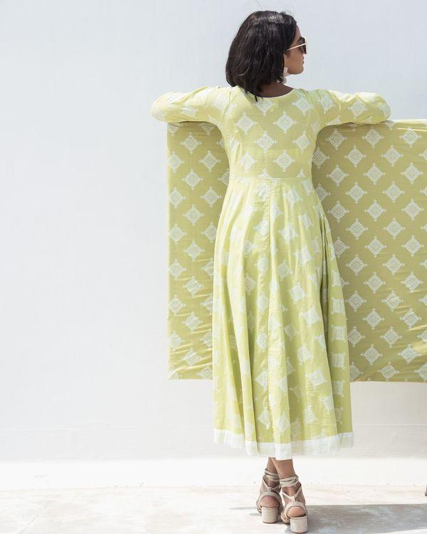 Green zari printed high low dress 3