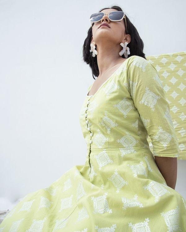 Green zari printed high low dress 1