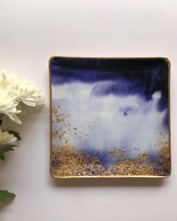 Blue and gold square metal platter - large 1