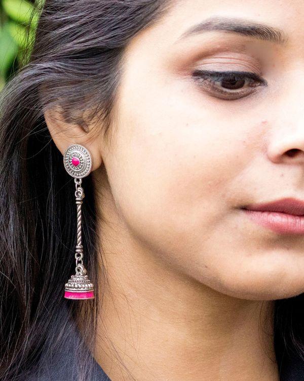 Pink studded meenakari latkan jhumka 1