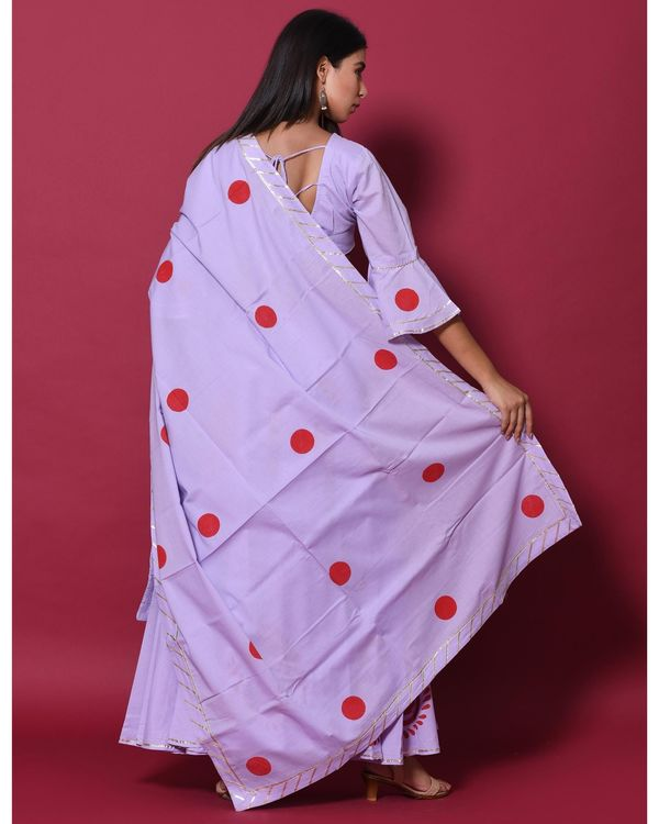 Periwinkle and red hand block printed lehenga and choli with dupatta - set of three 3