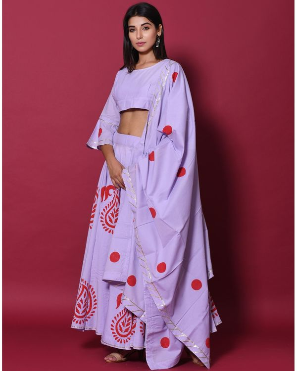 Periwinkle and red hand block printed lehenga and choli with dupatta - set of three 2