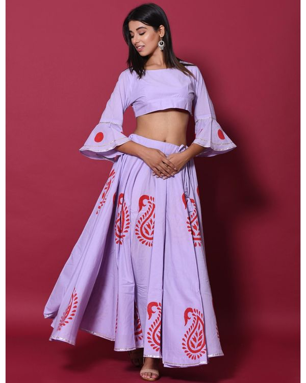 Periwinkle and red hand block printed lehenga and choli with dupatta - set of three 1