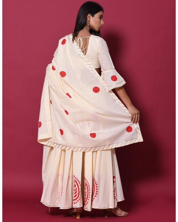 Beige and red hand block printed lehenga and choli with dupatta - set of three 3