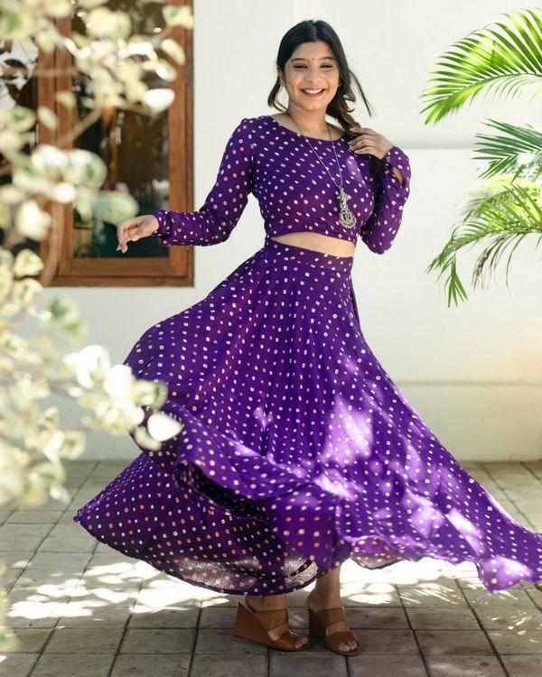 Violet bandhani crop top and skirt - Set Of Two 1