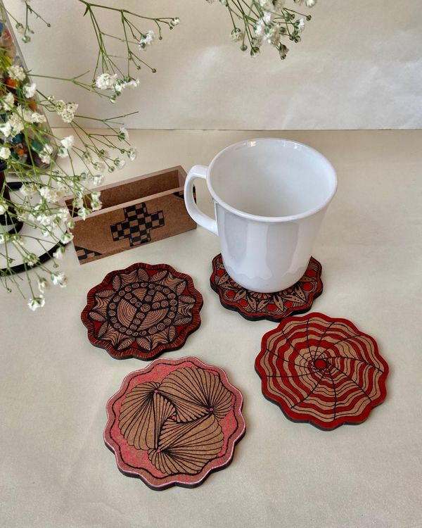 Mixed motif hand made coasters with stand - Set Of Five 1