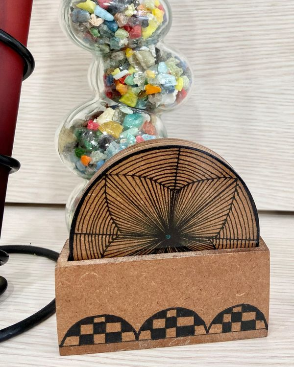 Hand made wooden coasters with stand - Set Of Five 1
