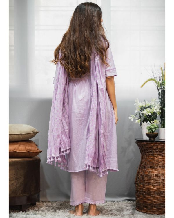 Purple gathered yoke kurta and pants with crinkled dupatta - Set Of Three 3