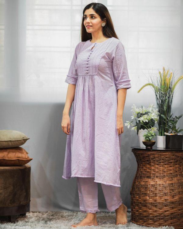Purple gathered yoke kurta and pants with crinkled dupatta - Set Of Three 2