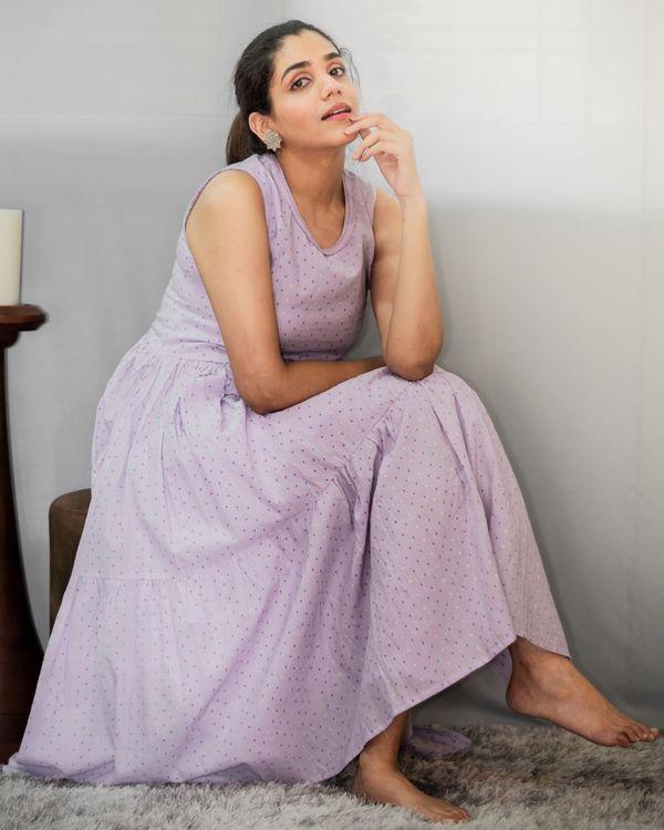 Purple printed tiered kurta and pants - Set Of Two 5