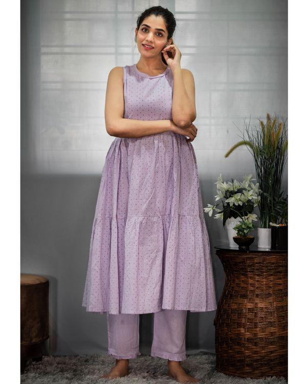 Purple printed tiered kurta and pants - Set Of Two 4