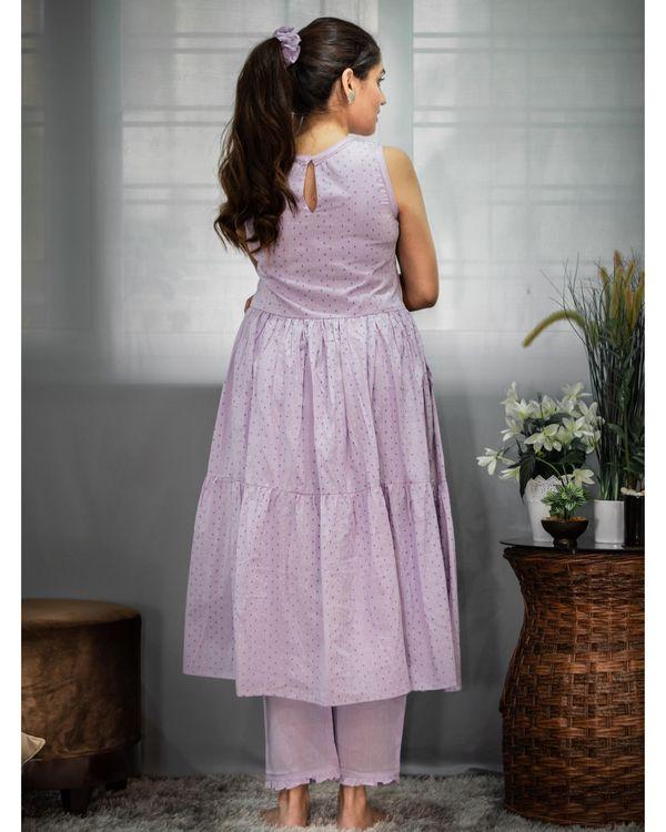Purple printed tiered kurta and pants - Set Of Two 3