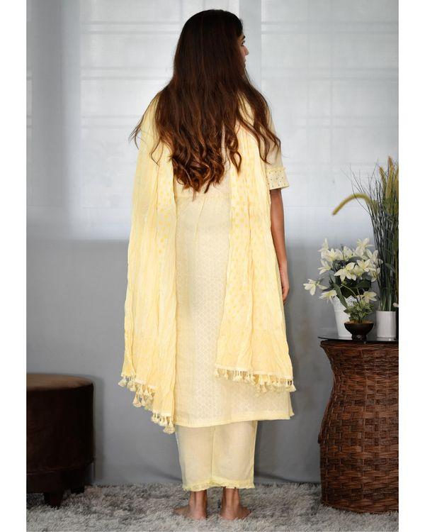 Pastel yellow gathered yoke kurta and pants with dupatta - Set Of Three 3