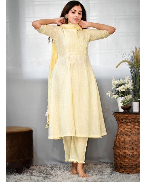 Pastel yellow gathered yoke kurta and pants with dupatta - Set Of Three 1