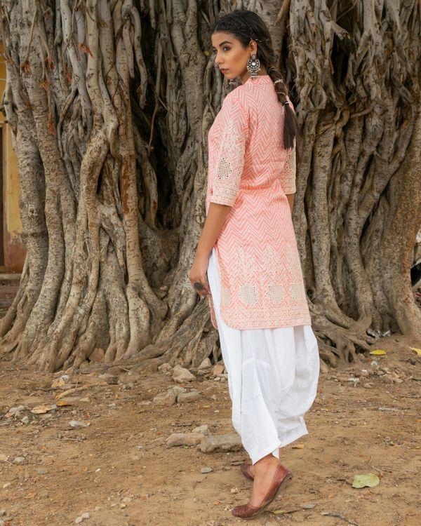 Pink kurta with white salwar - set of two 3