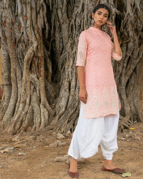 Pink kurta with white salwar - set of two 2