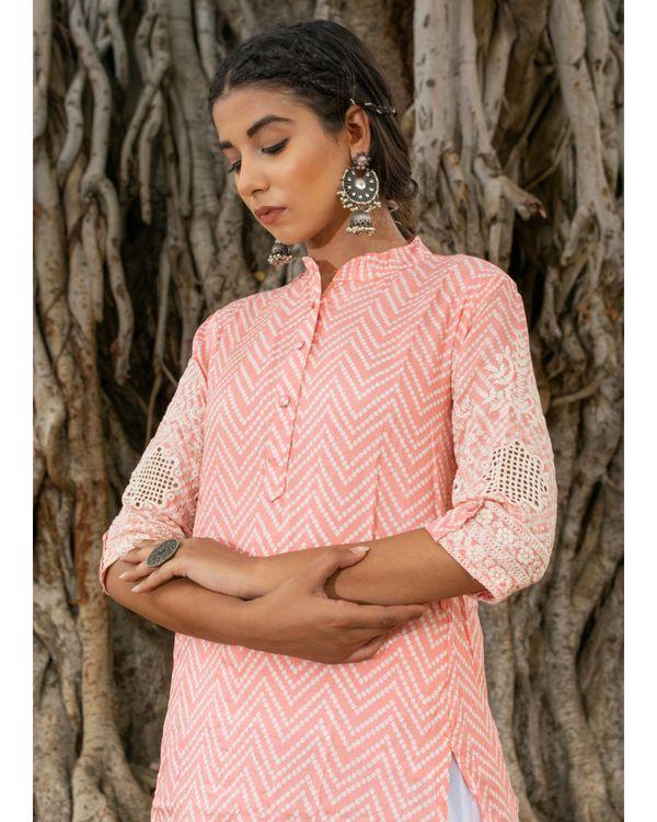 Pink kurta with white salwar - set of two 1