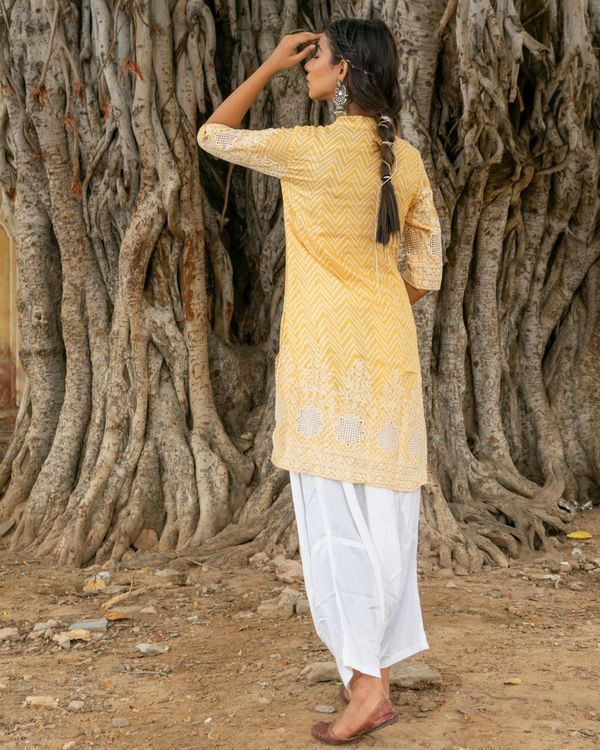 Yellow kurta with white salwar - set of two 3
