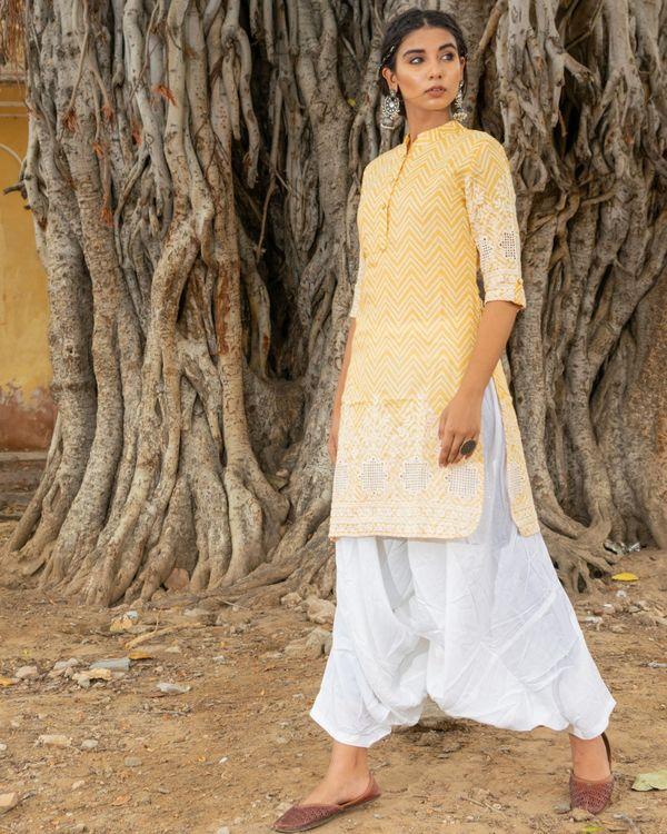 Yellow kurta with white salwar - set of two 2
