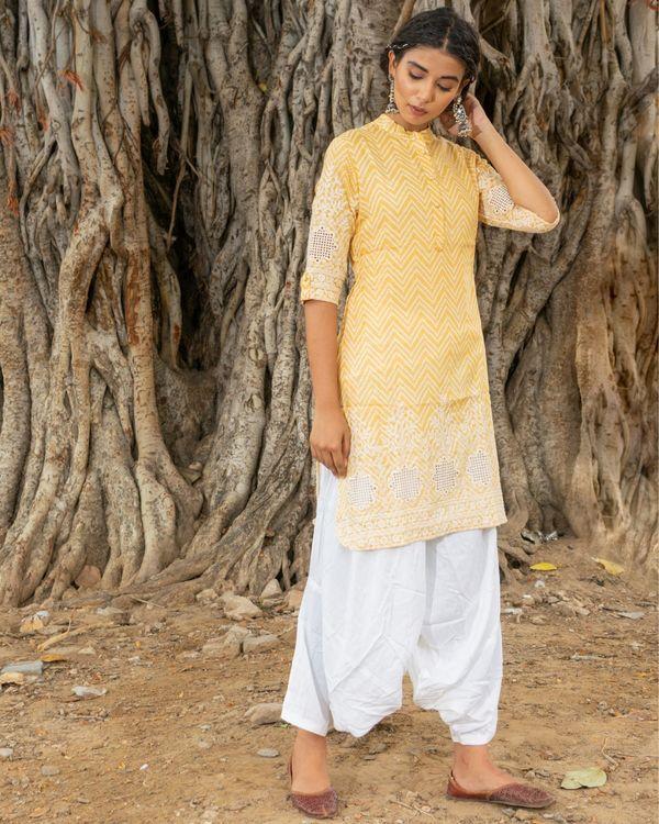 Yellow kurta with white salwar - set of two 1