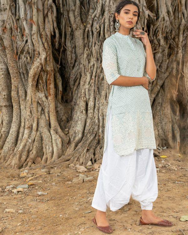 Powder blue kurta with white salwar - set of two 1