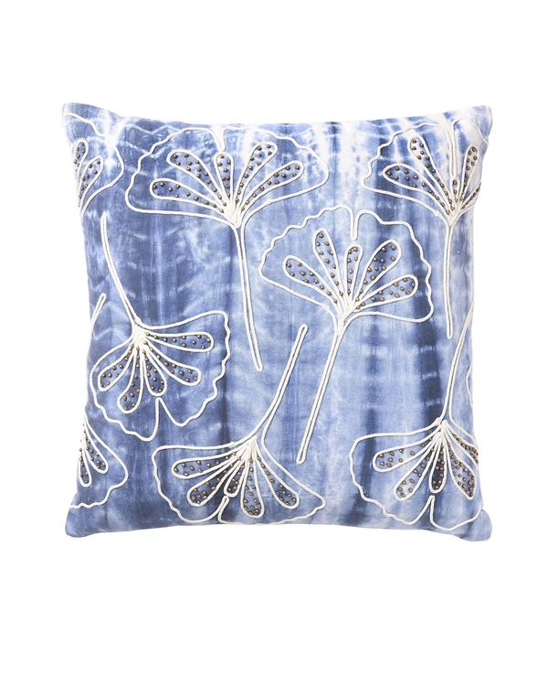 Shibori dyed embroidered cushion cover 1