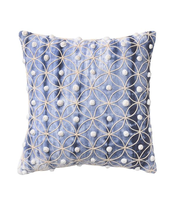 Shibori dyed crochet work cushion cover 1