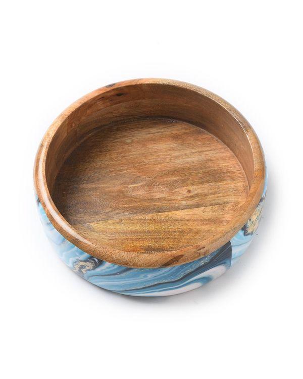 Shades of blue mango wood salad bowl 2