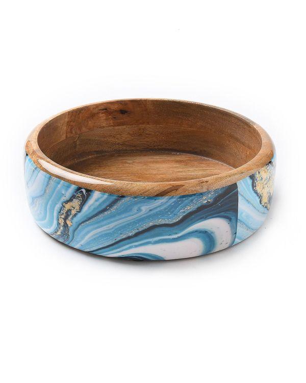 Shades of blue mango wood salad bowl 1