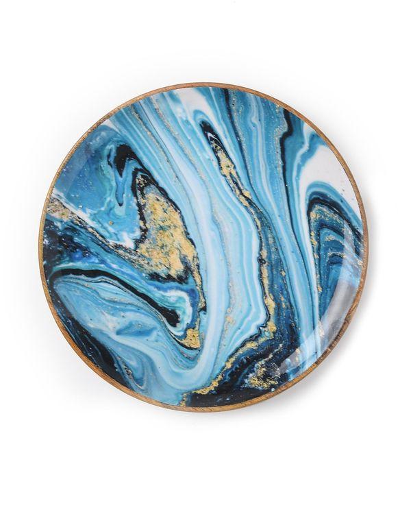 Shades of blue wave mango wood circular platter 2