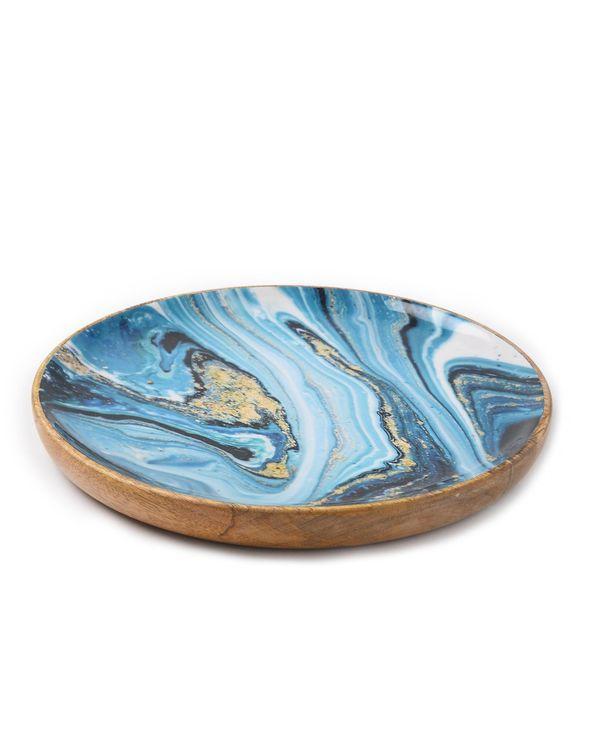 Shades of blue wave mango wood circular platter 1