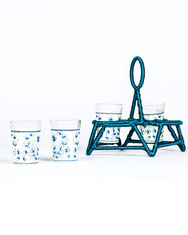 Hand painted glasses with holder - Set Of Five 2