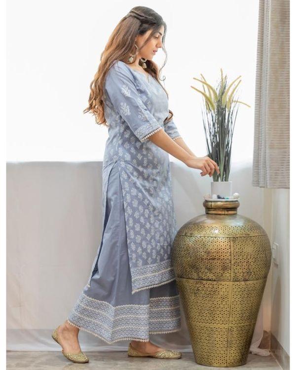 Grey khari block printed kurta with palazzo - Set Of Two 2