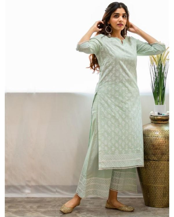 Mint green khari block printed kurta with palazzo - Set Of Two 3