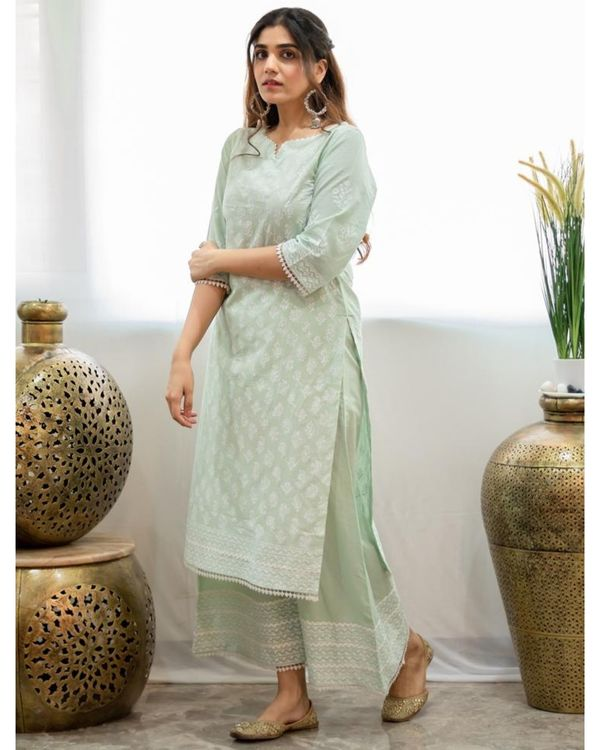 Mint green khari block printed kurta with palazzo - Set Of Two 2