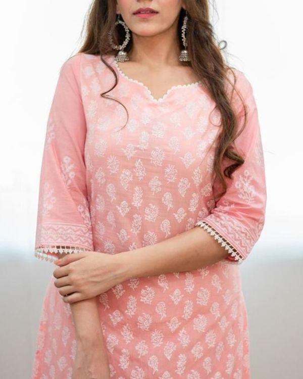 Blush pink khari block printed kurta with palazzo and dupatta - Set Of Three 1
