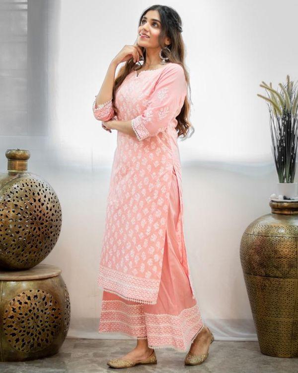 Blush pink khari block printed kurta with palazzo - Set Of Two 3