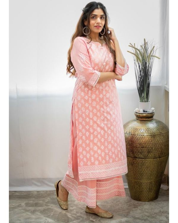 Blush pink khari block printed kurta with palazzo - Set Of Two 2