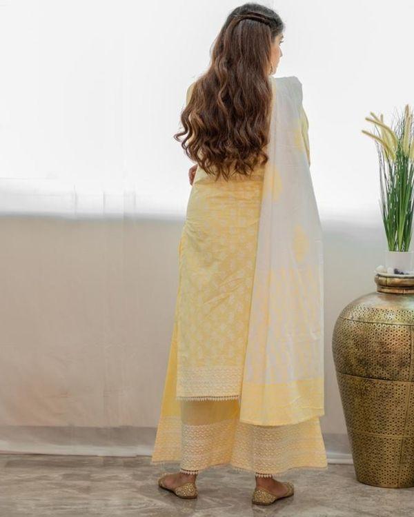 Pastel yellow khari block printed kurta with palazzo and dupatta - Set Of Three 3