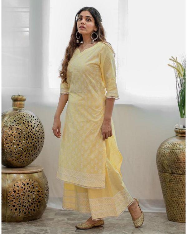 Pastel yellow khari block printed kurta with palazzo and dupatta - Set Of Three 2