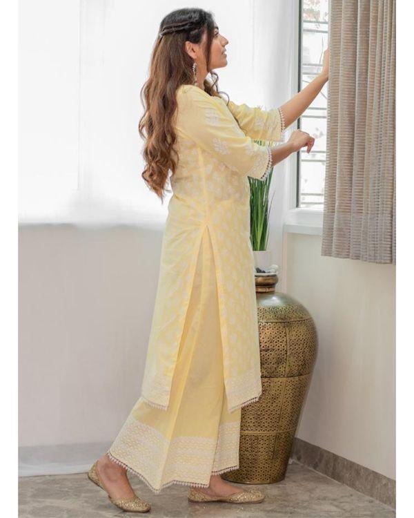 Pastel yellow khari block printed kurta with palazzo - Set Of Two 3