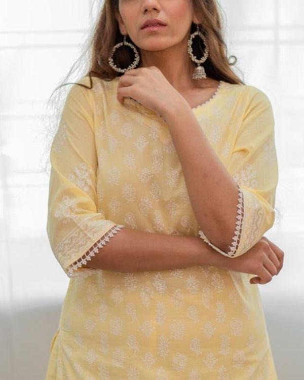 Pastel yellow khari block printed kurta with palazzo - Set Of Two 1