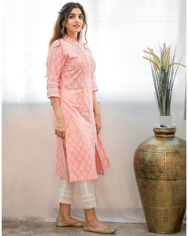 Blush pink khari block printed kurta 2