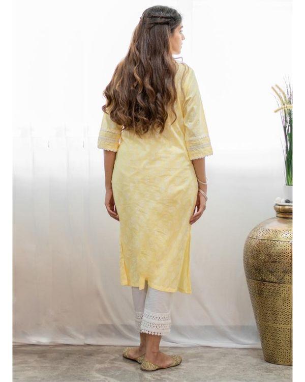 Pastel yellow khari block printed kurta 3