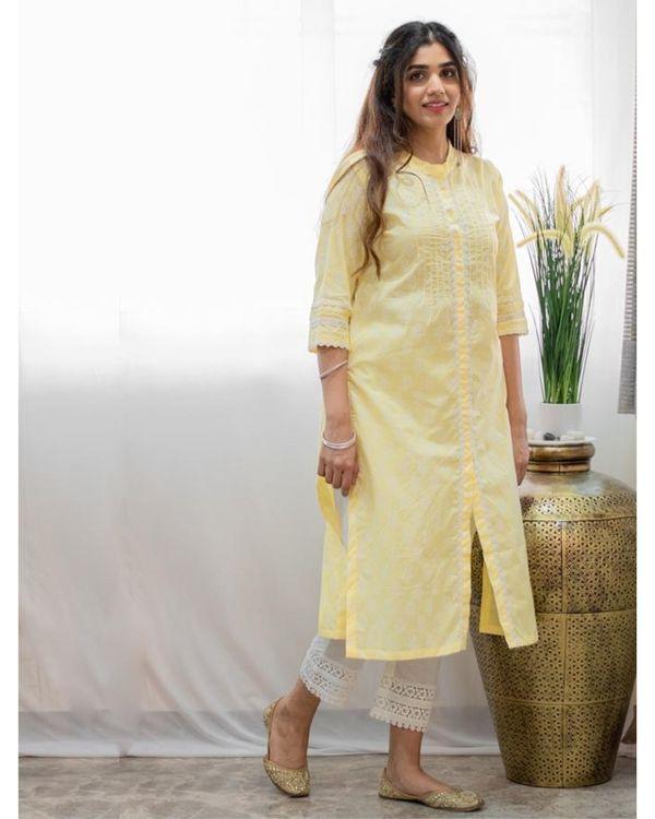 Pastel yellow khari block printed kurta 2