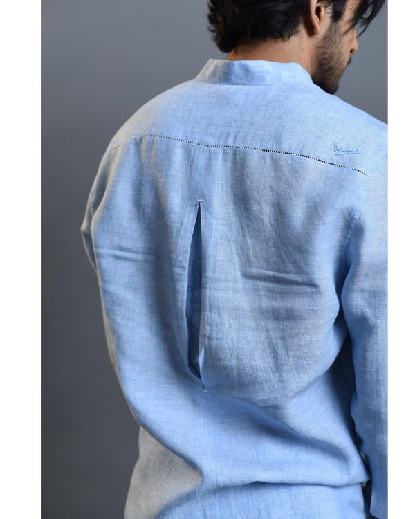 Sky blue embroidered shirt 3