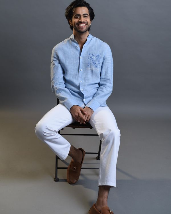 Sky blue embroidered shirt 2
